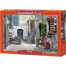 Castorland 500 - Alley with a red bicycle